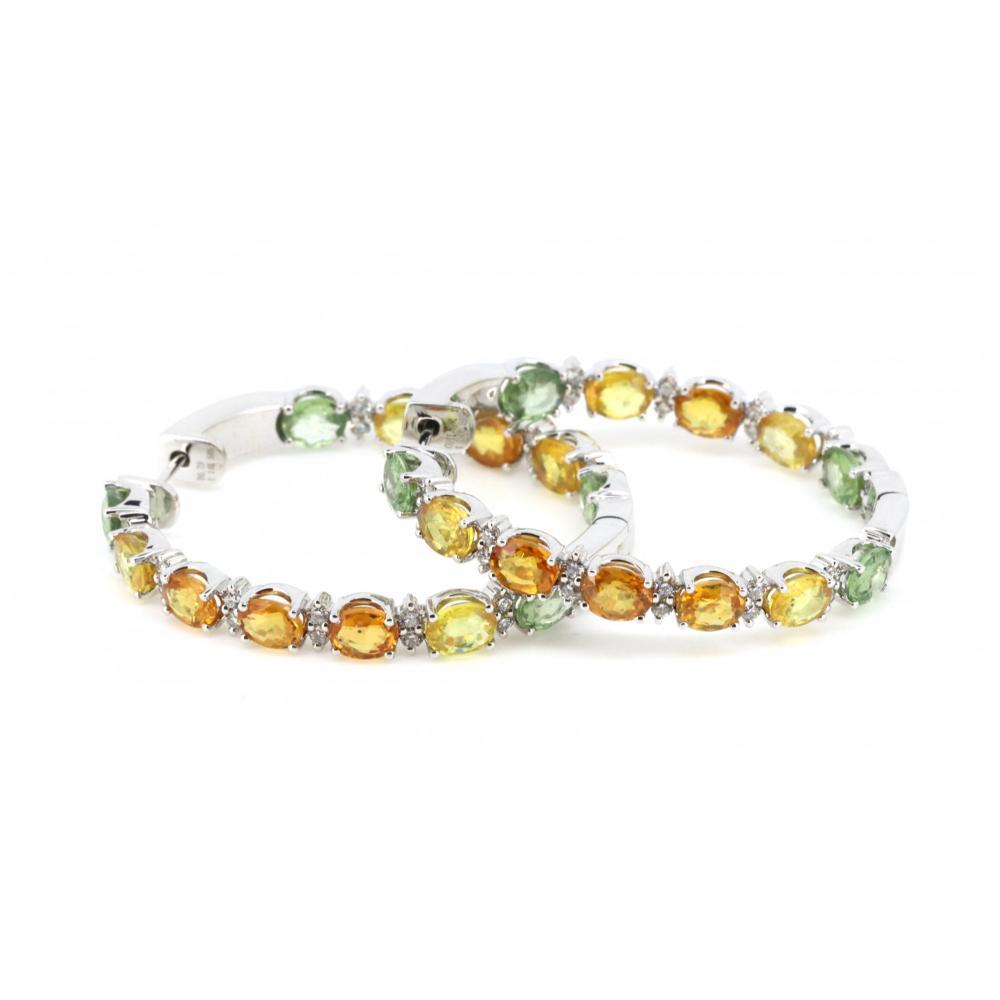 14K White Gold, Sapphire and Diamond, Hoop Earrings