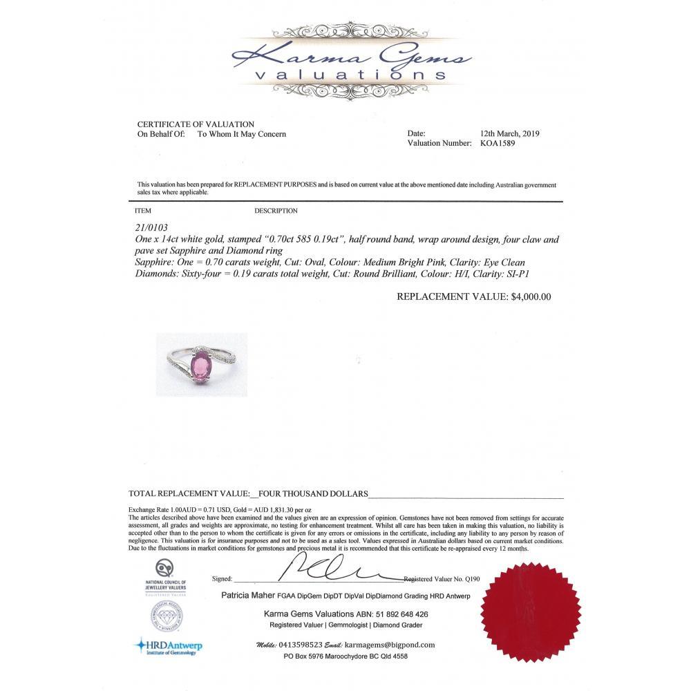 14K White Gold, Pink Sapphire and Diamond, Wrap Around Design Ring