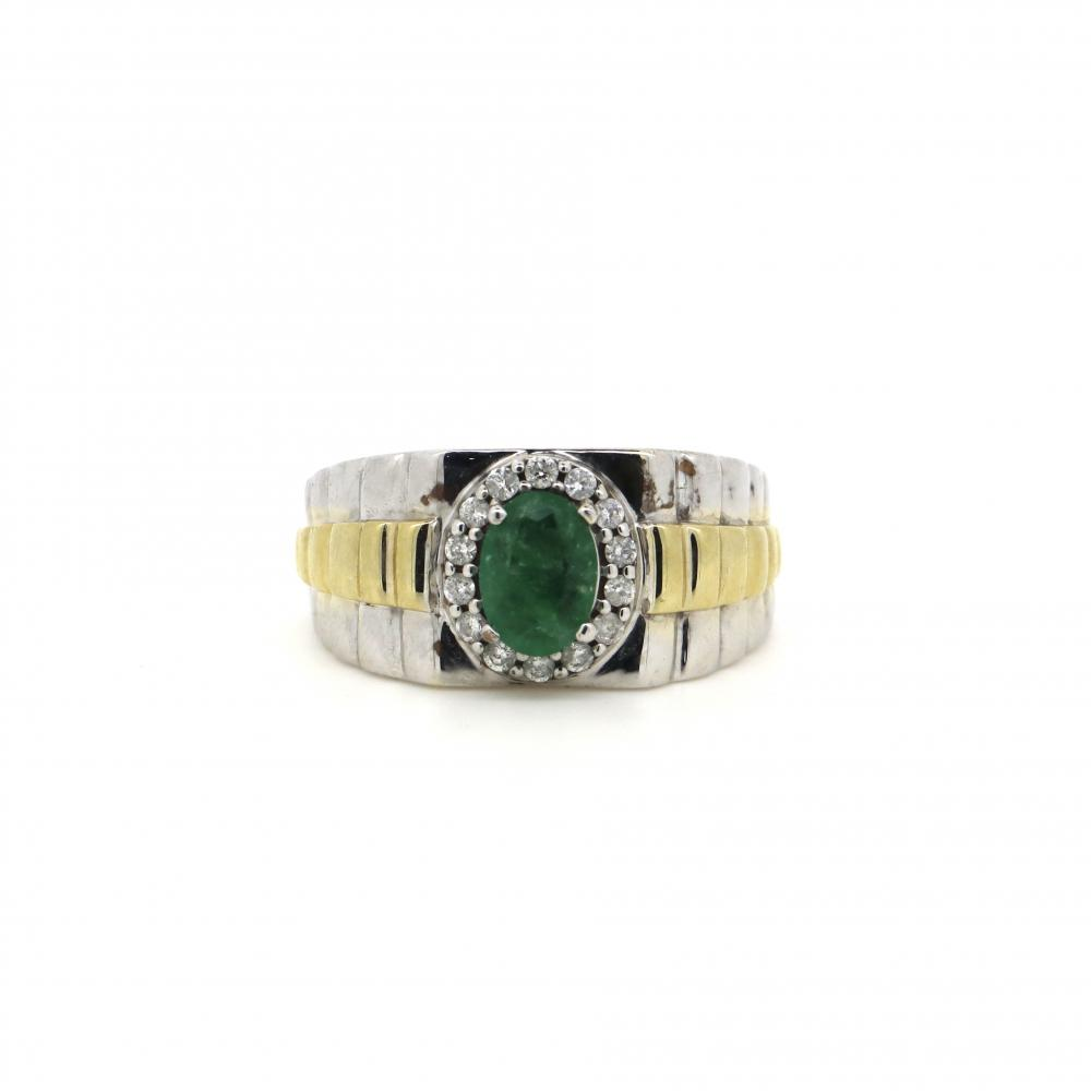 14K White and Yellow Gold, Emerald and Diamond, Gents Halo Ring