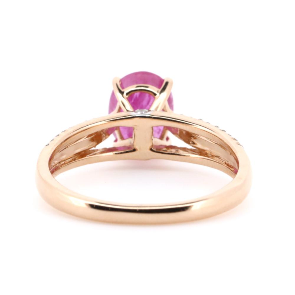14K Rose Gold, Ruby and Diamond, Vintage Style Ring