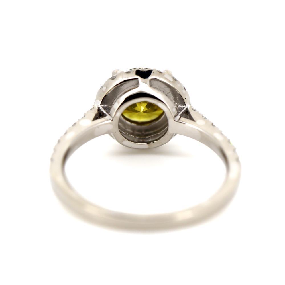 14K White Gold, Yellow Diamond, Antique Style Halo Ring