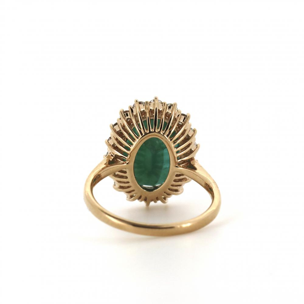14K Rose Gold, Emerald and Diamond, Vintage Style Halo Ring