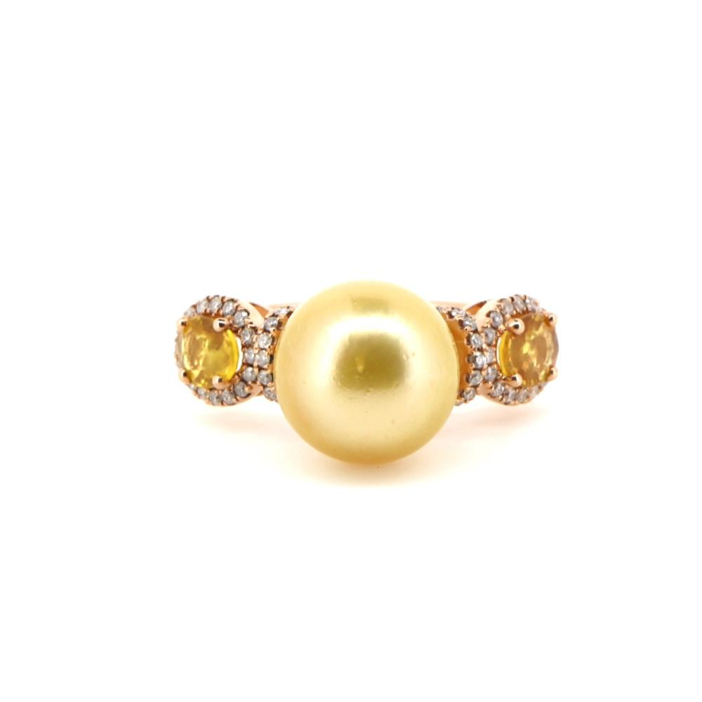 14K Rose Gold, Cultured South Sea Pearl, Sapphire and Diamond, Vintage Style Ring