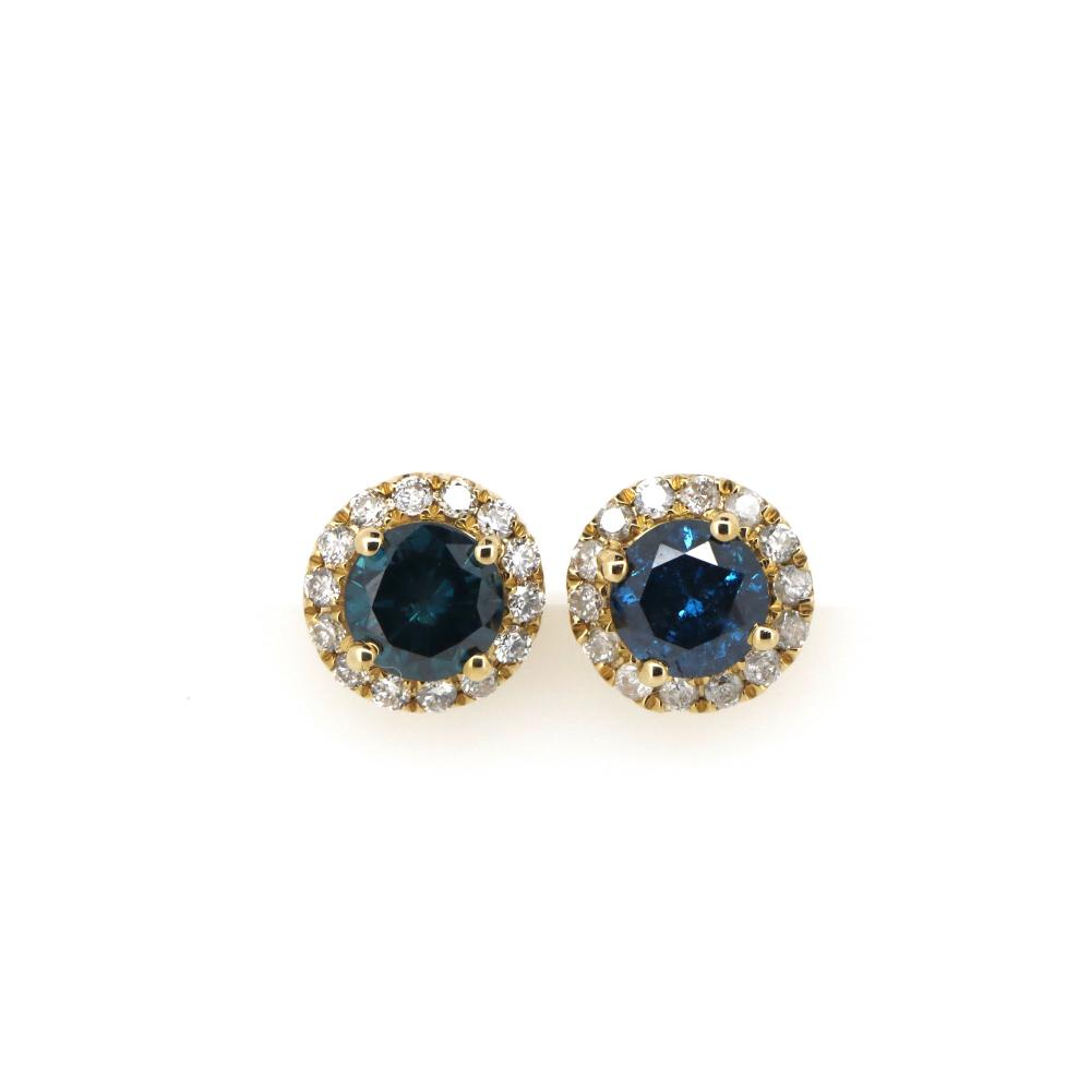 14K Yellow Gold, Blue Diamond, Halo Stud Earrings