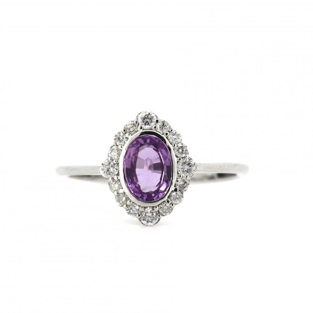 14K White Gold, Pink Sapphire and Diamond, Antique Design Halo Ring