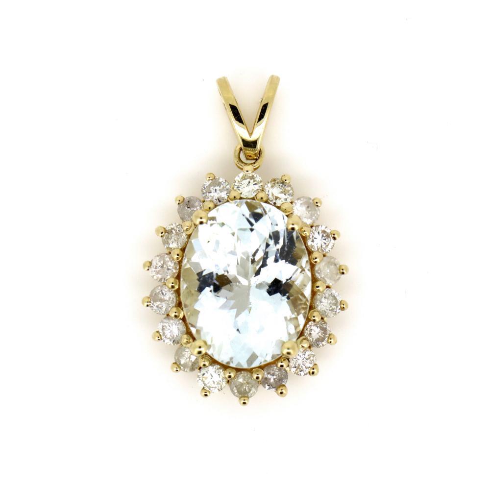 14K Yellow Gold, Aquamarine and Diamond, Vintage Style Pendant