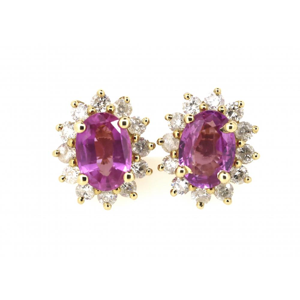 14K Yellow Gold, Pink Sapphire and Diamond, Vintage Design Halo Earrings