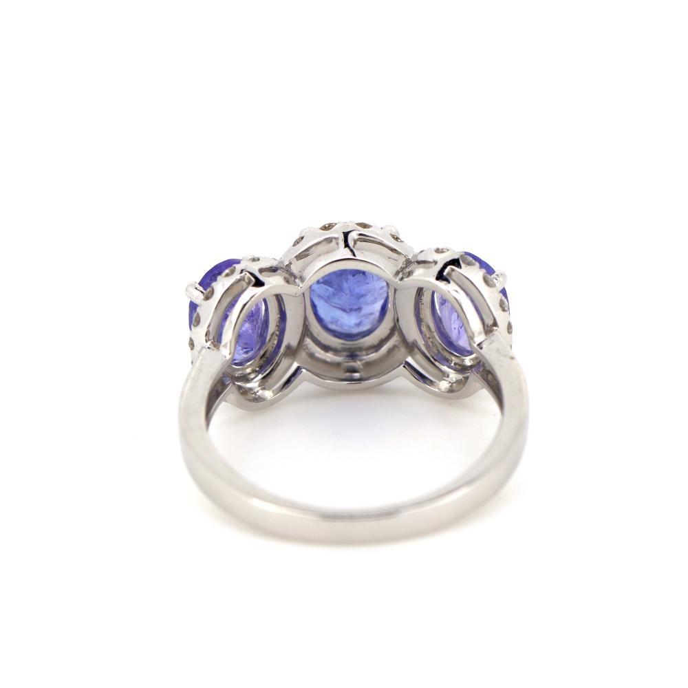 14K White Gold, Tanzanite and Diamond, Vintage Style Halo Trilogy Ring