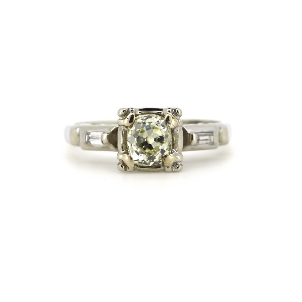 14K White Gold and Diamond, Vintage Trilogy Ring