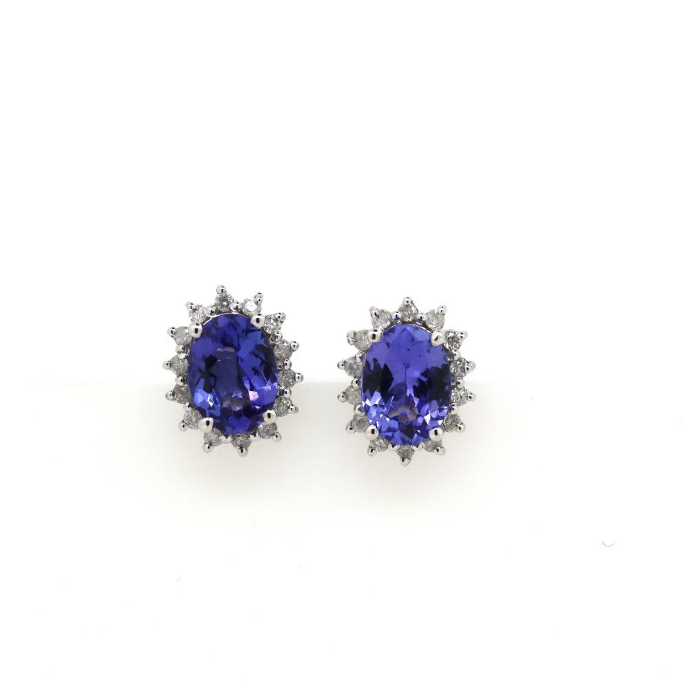 14K White Gold, Tanzanite and Diamond, Halo Stud Earrings