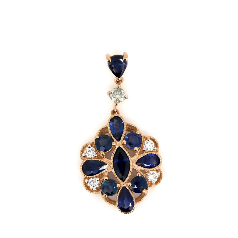 14K Rose Gold, Sapphire and Diamond, Vintage Style Pendant