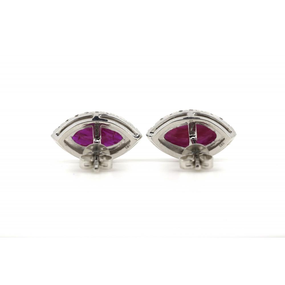 14K White Gold, Ruby and Diamond, Halo Earrings