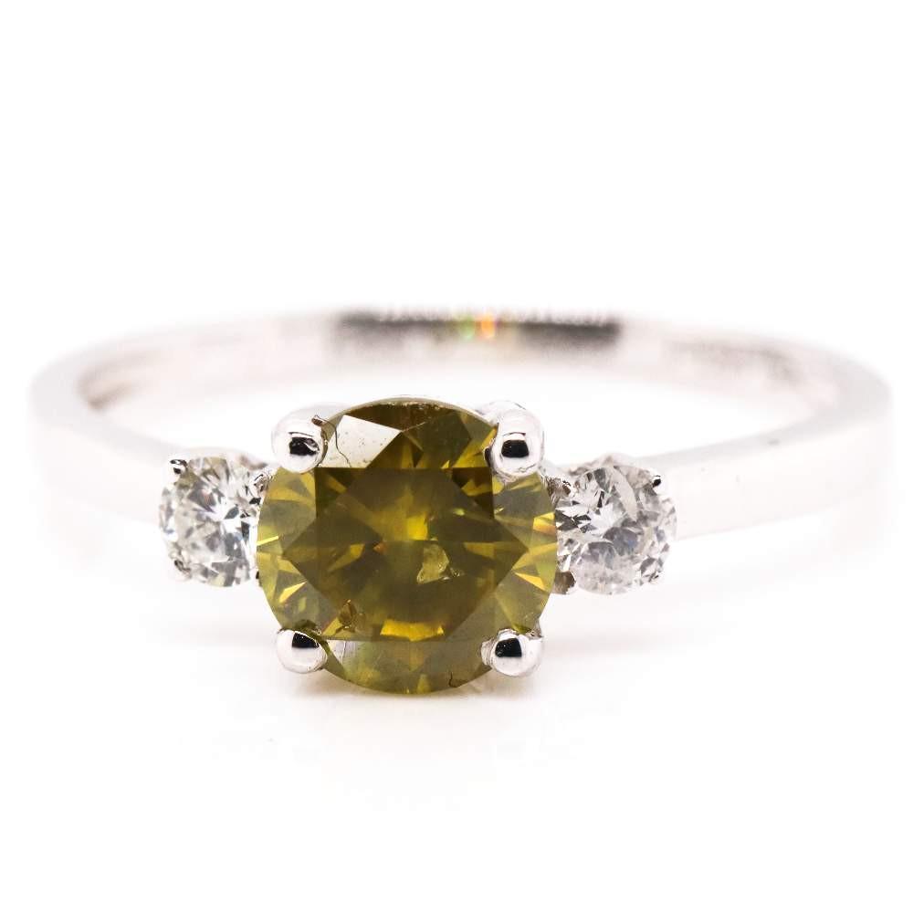 14K White Gold, Yellow Diamond, Trilogy Style Ring