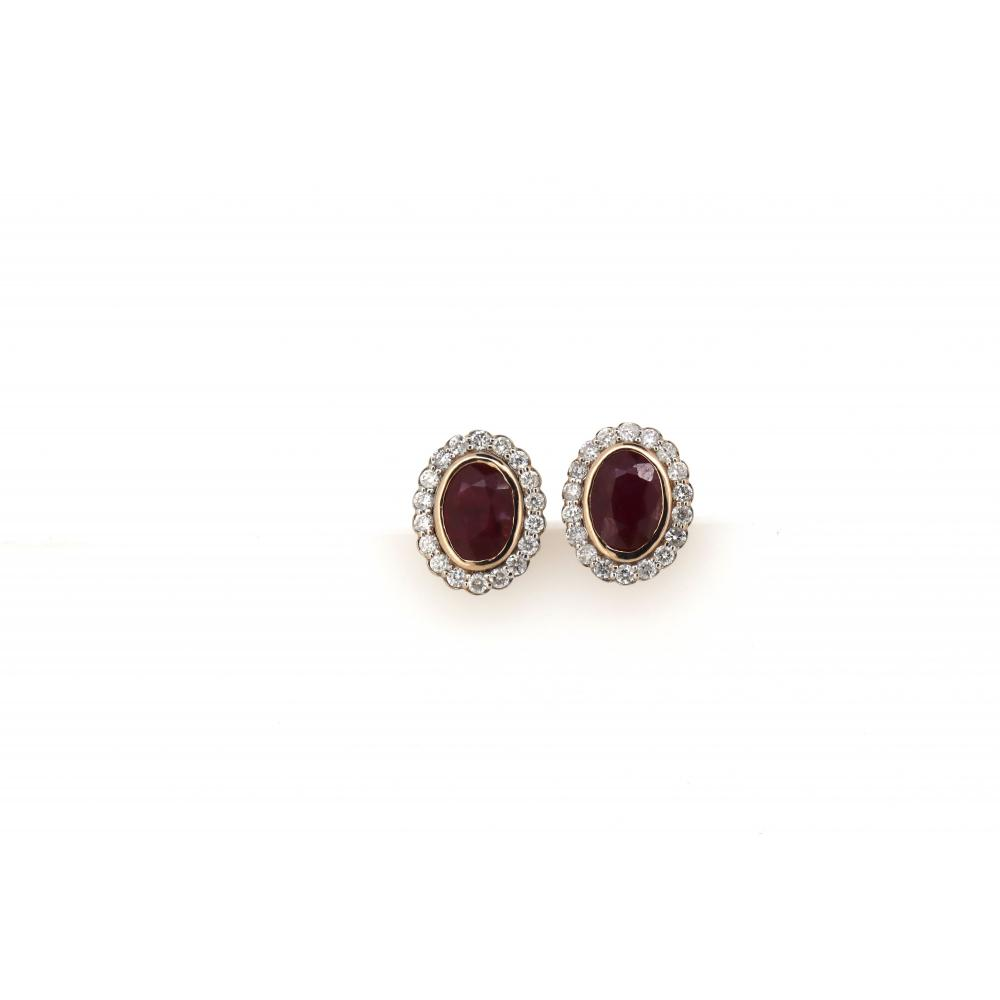 14K Rose/White Gold, Ruby and Diamond, Halo Stud Earrings