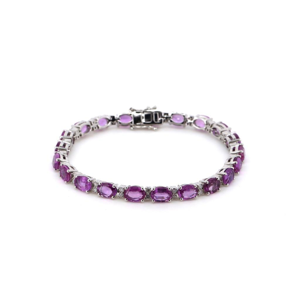 14K White Gold, Pink Sapphire and Diamond, Halo Tennis Bracelet