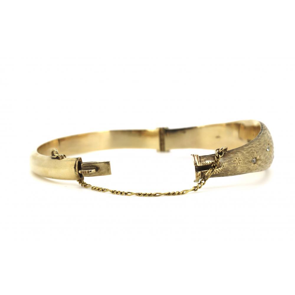 9K Yellow Gold, 0.35ct TDW Diamond, Vintage Style Bangle