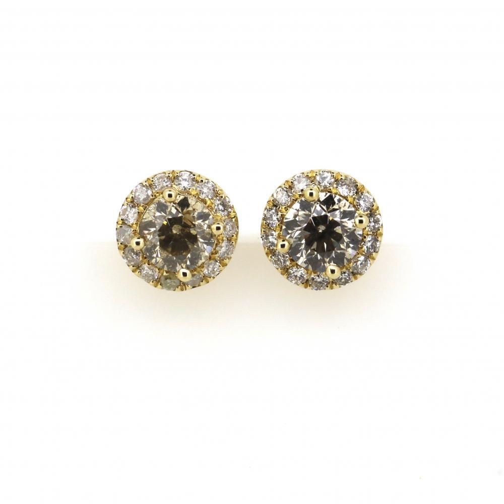 14K Yellow Gold and Diamond, Halo Stud Earrings