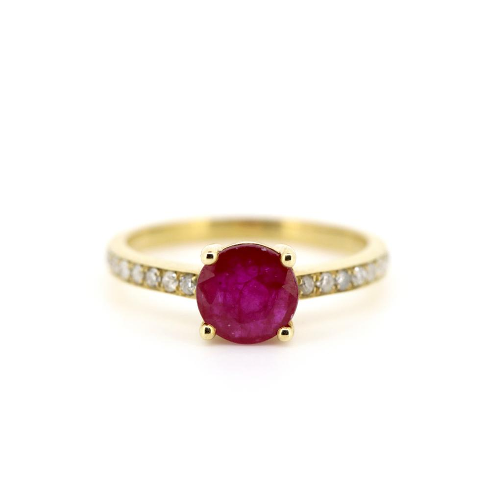 14K Yellow Gold, Ruby and Diamond, Classic Ring