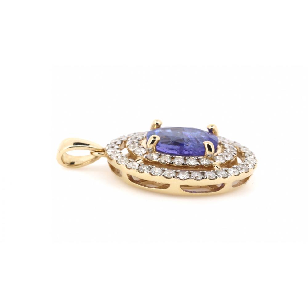 14K Yellow Gold, Tanzanite and Diamond, Vintage Style Double Halo Pendant