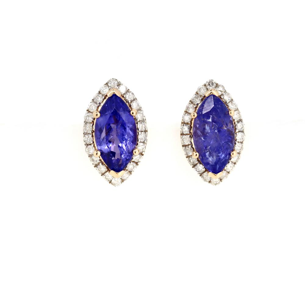 14K Rose Gold, Tanzanite and Diamond, Vintage Inspired Halo Earrings