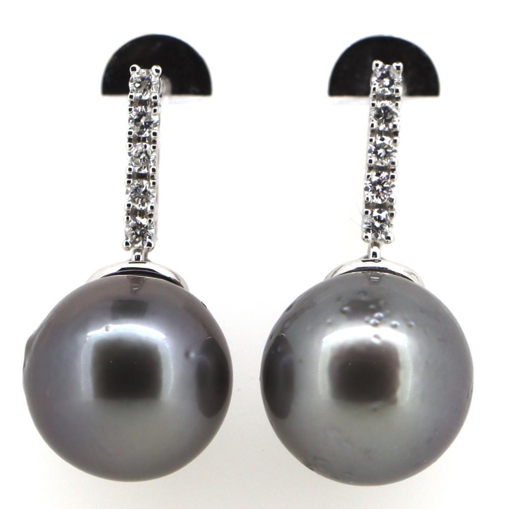 14K White Gold, Cultured Tahitian Pearl and Diamond, Drop Earrings