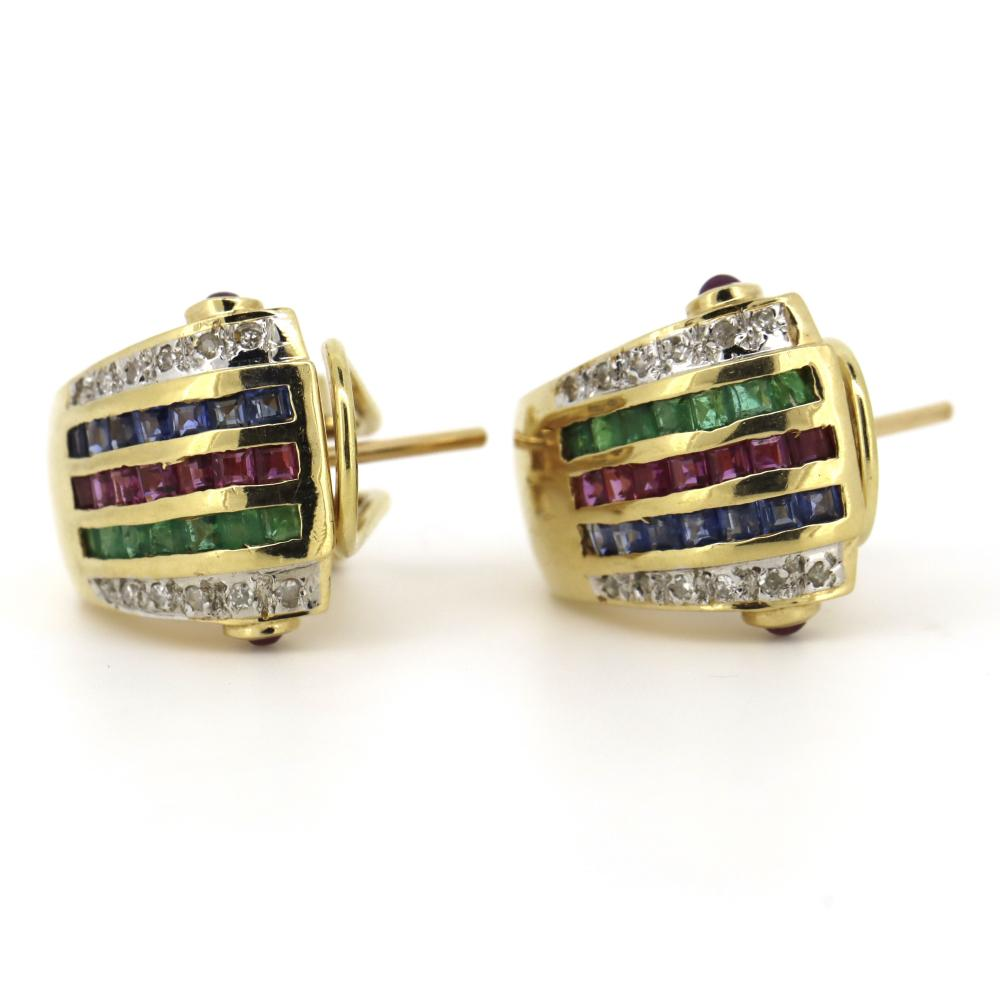 14K Yellow Gold, Emerald, Ruby, Sapphire and Diamond, Vintage Style Omega Earrings