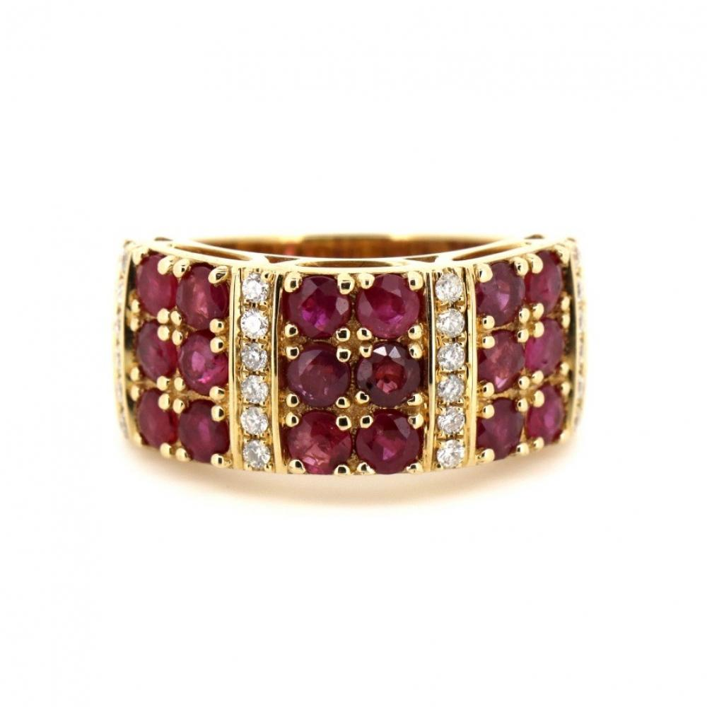 14K Yellow Gold, Ruby and Diamond, Decorative Band Ring