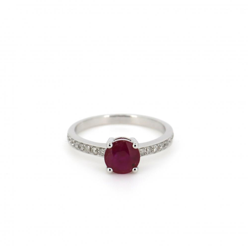 14K White Gold, Ruby and Diamond, Classic Ring