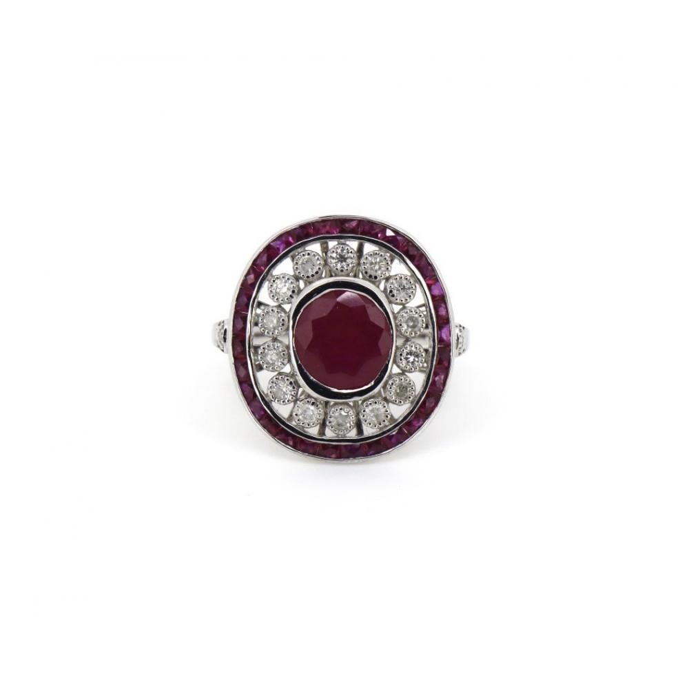 18K White Gold, Ruby and Diamond, Antique Style Dress Ring