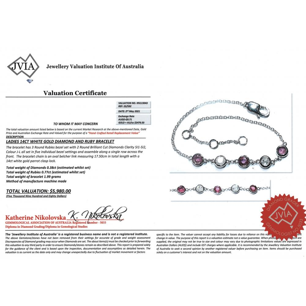 14K White Gold, Ruby and Diamond, Chain Bracelet