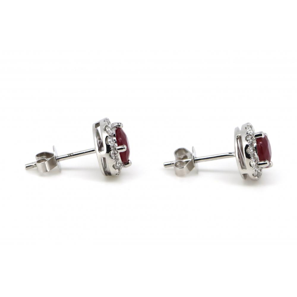 14K White Gold, Ruby and Diamond, Halo Stud Earrings