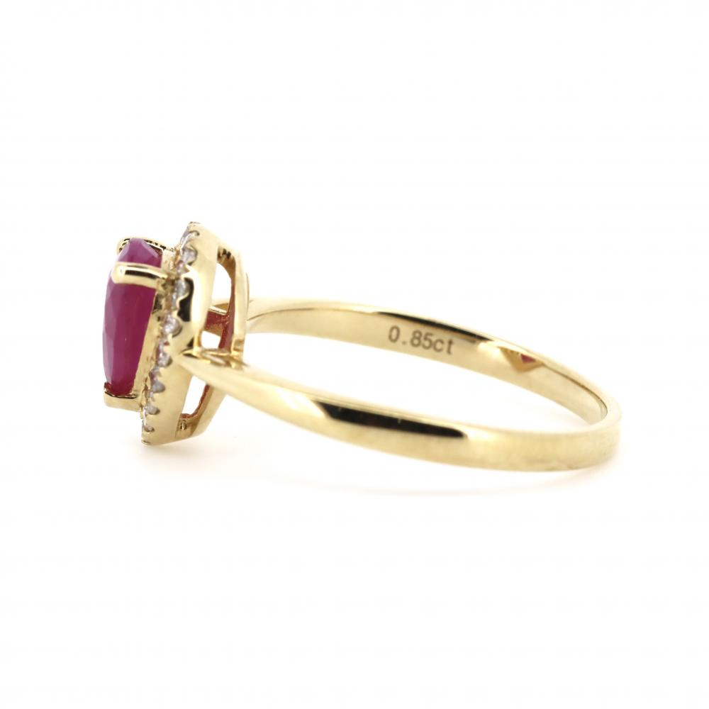 14K Yellow Gold, Ruby and Diamond, Vintage Style Halo Ring