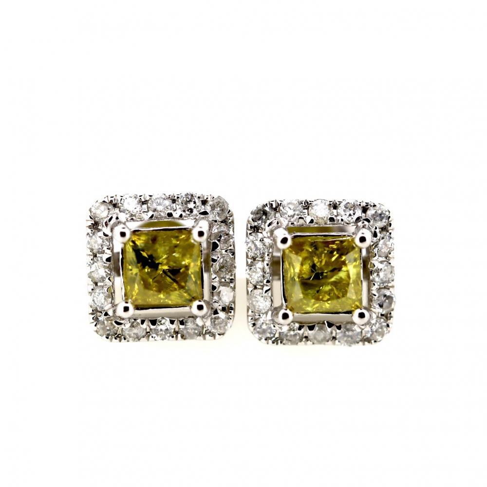 14K White Gold, Yellow Diamond, Halo Stud Earrings