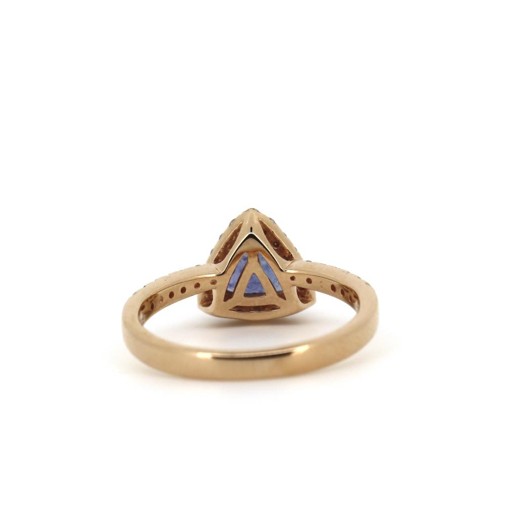 14K Rose Gold, Tanzanite and Diamond, Halo Ring