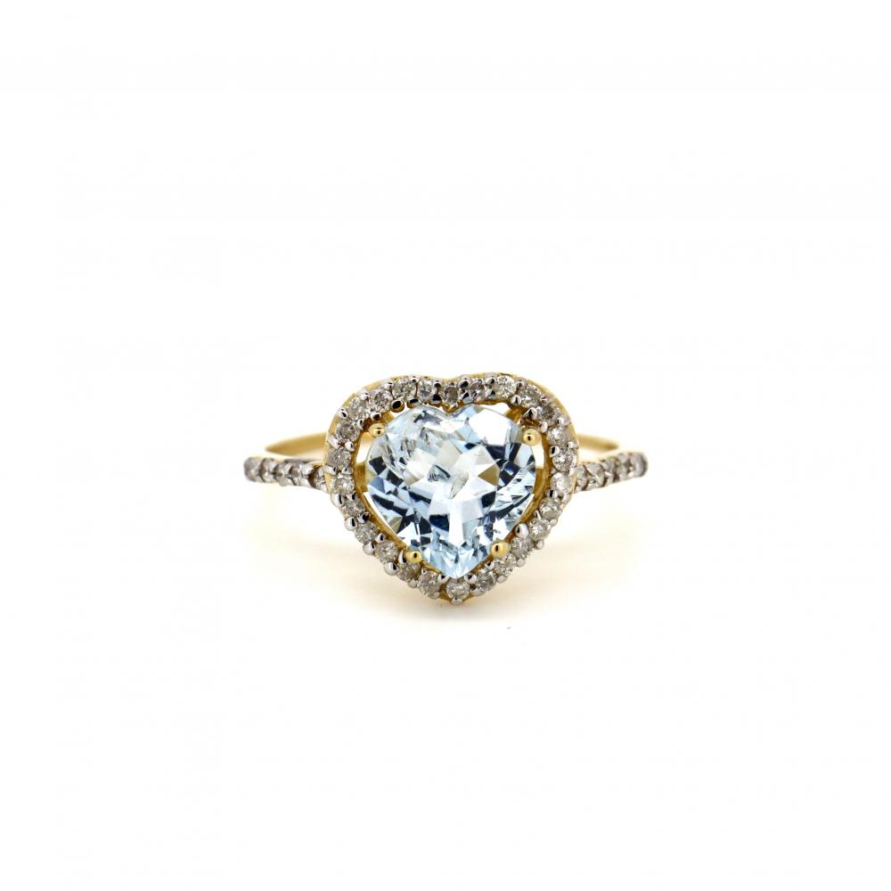 14K Yellow Gold, Aquamarine and Diamond, Vintage Style Heart Ring