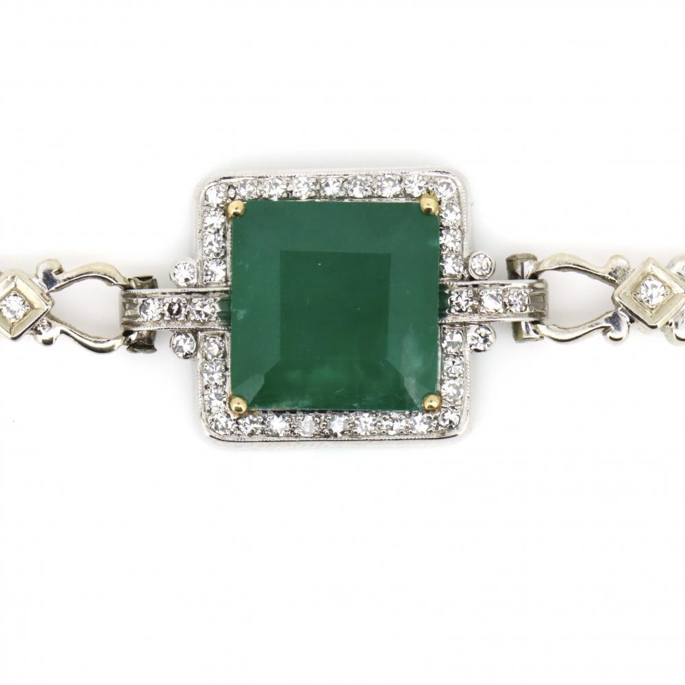 14K White Gold, Emerald and Diamond, Filigree Link Chain Bracelet