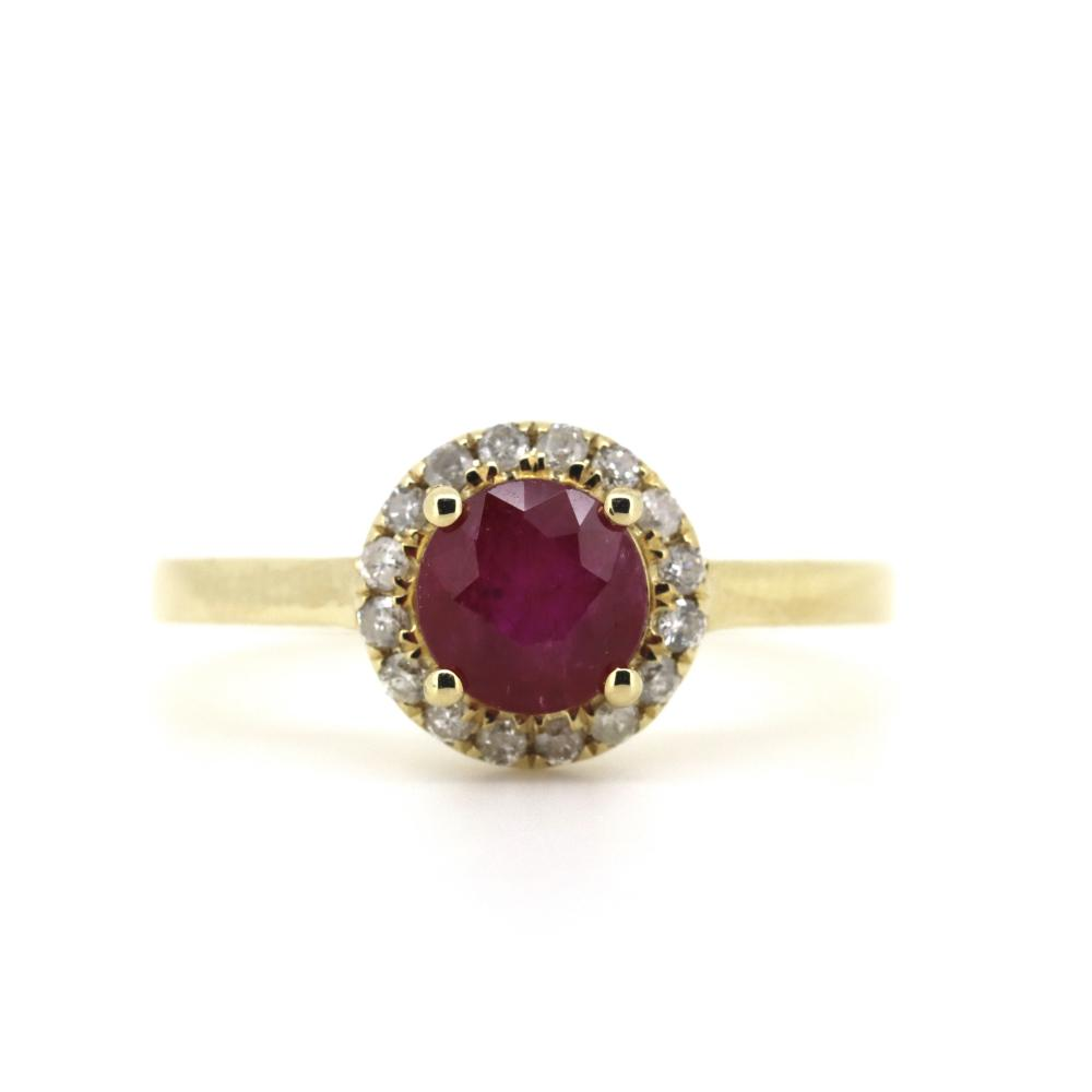 14K Yellow Gold, Ruby and Diamond, Halo Ring