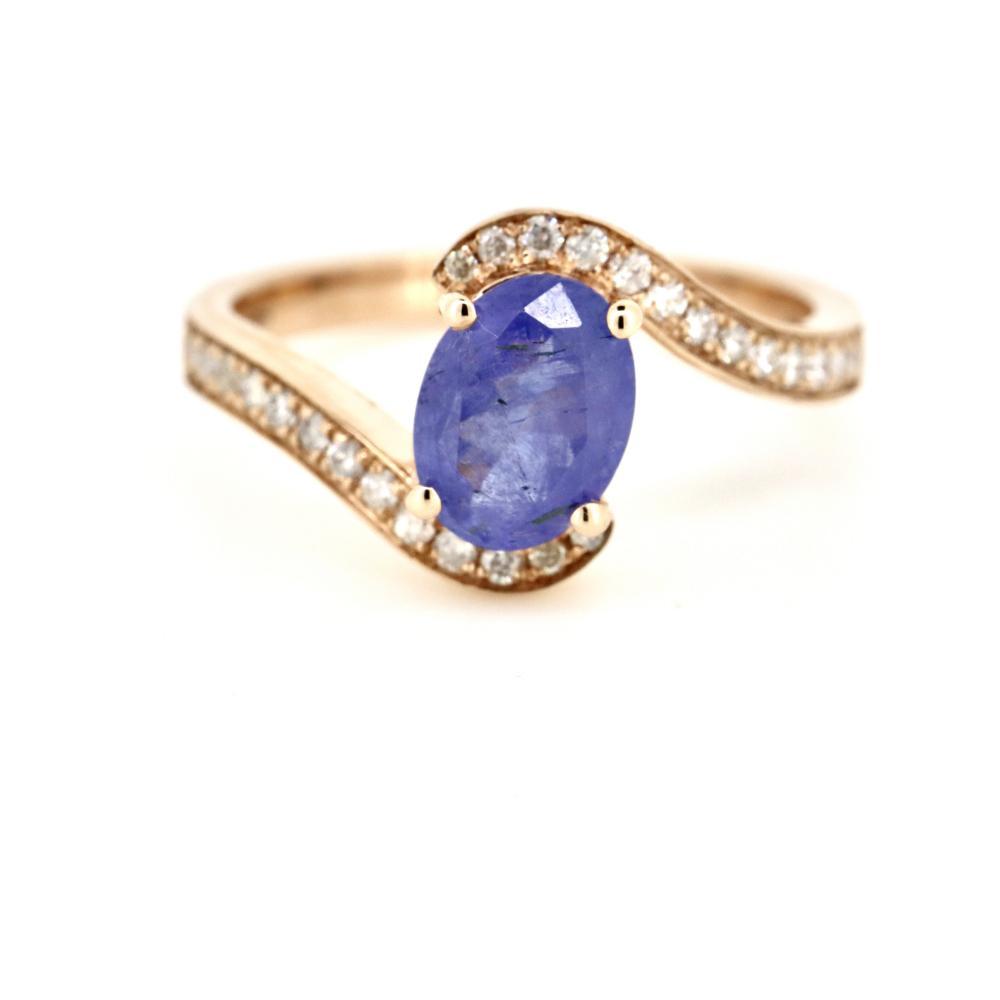 14K Rose Gold, Tanzanite and Diamond, Wrap Around Design Ring