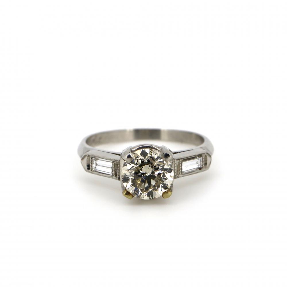 Platinum and Diamond, Vintage Style Trilogy Ring