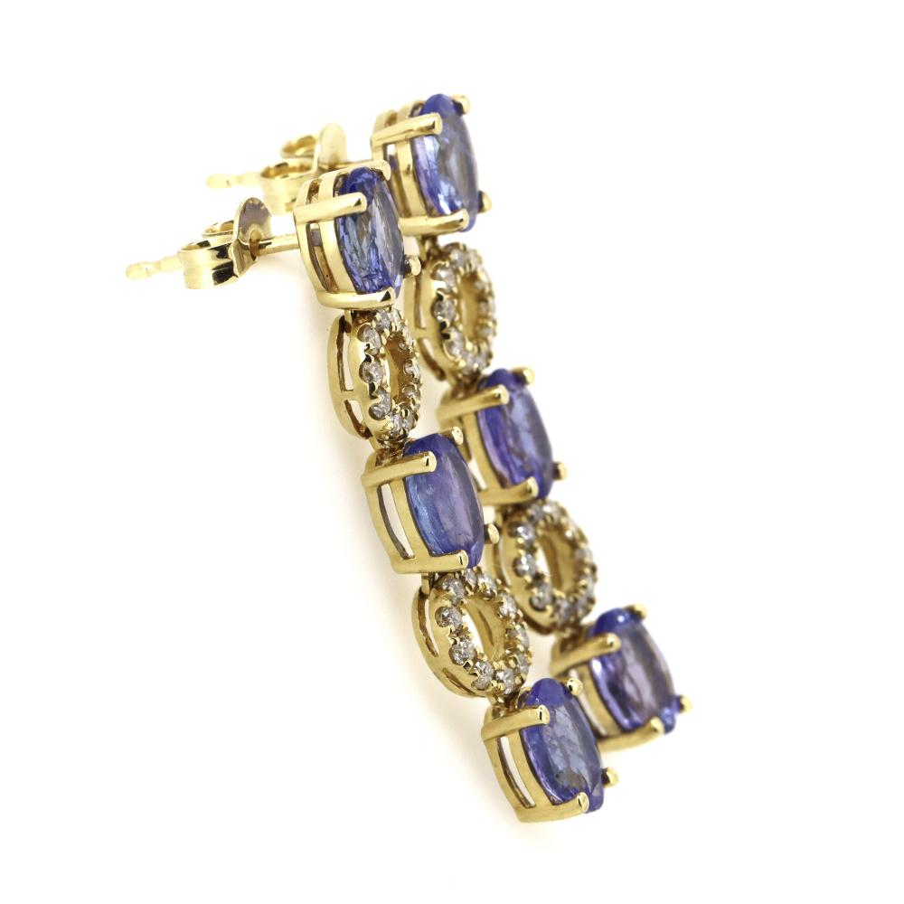 14K Yellow Gold, Tanzanite and Diamond, Drop Earrings