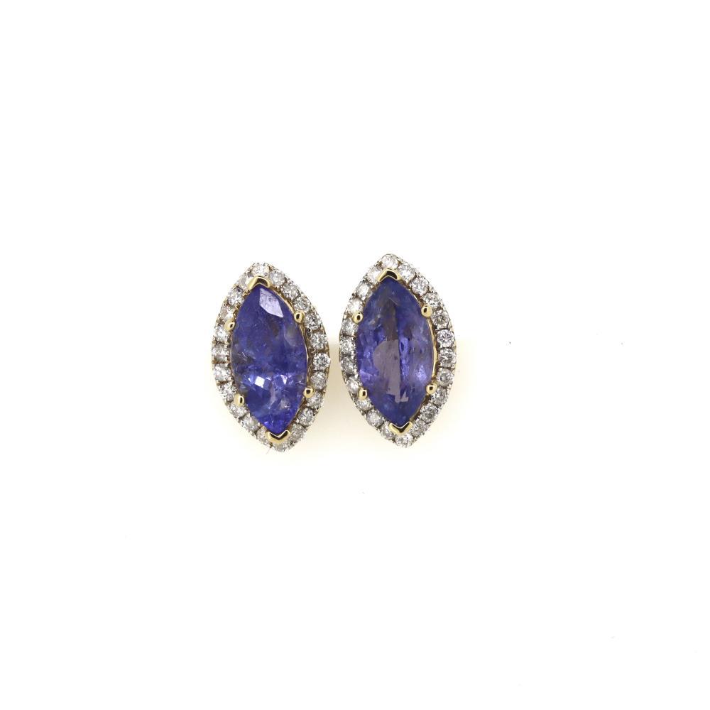 14K Yellow Gold, Tanzanite and Diamond, Halo Stud Earrings