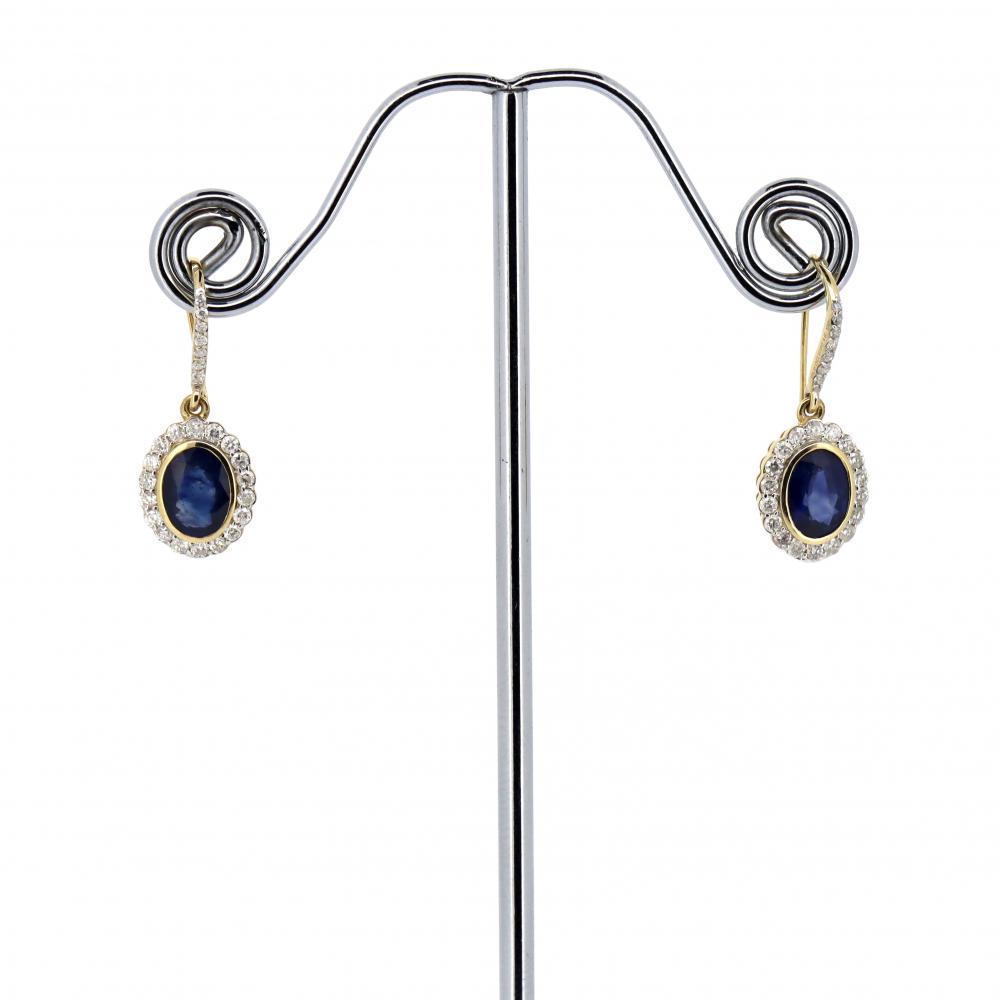 14K White Gold, Sapphire and Diamond, Halo Earrings