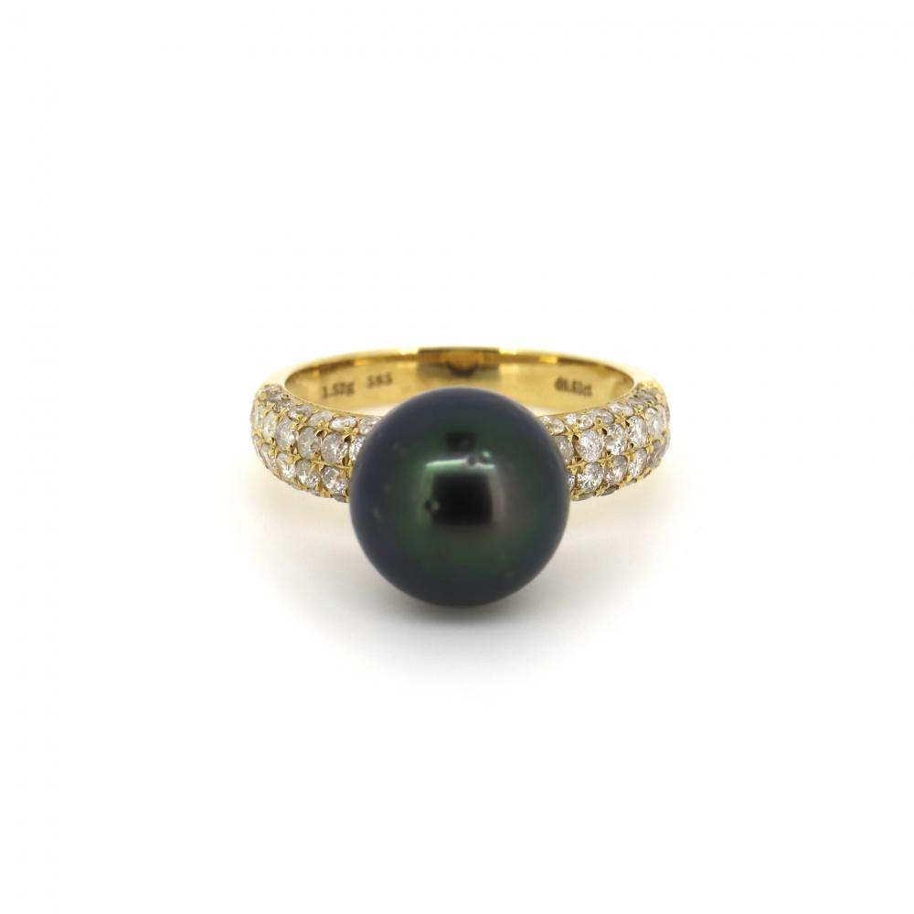 14K Yellow Gold, Cultured Tahitian Pearl and Diamond, Vintage Inspired Ring