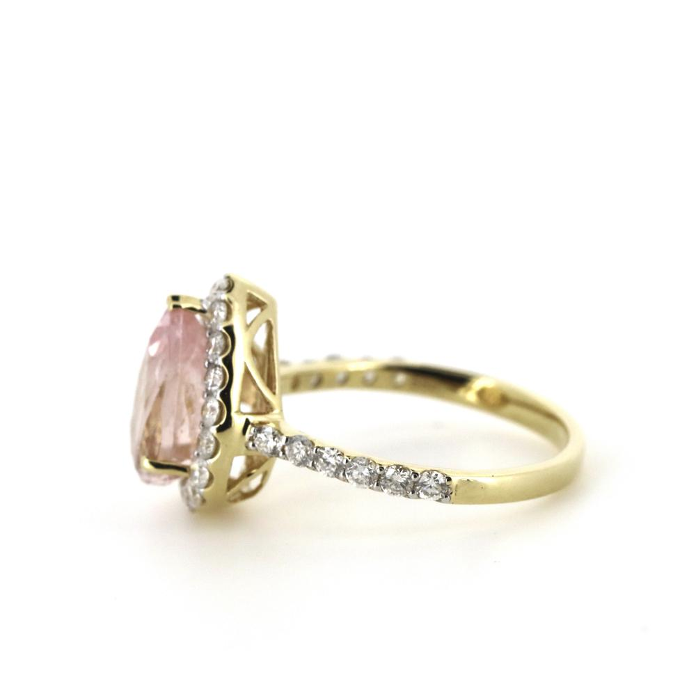 14K Yellow Gold, Morganite and Diamond, Halo Ring