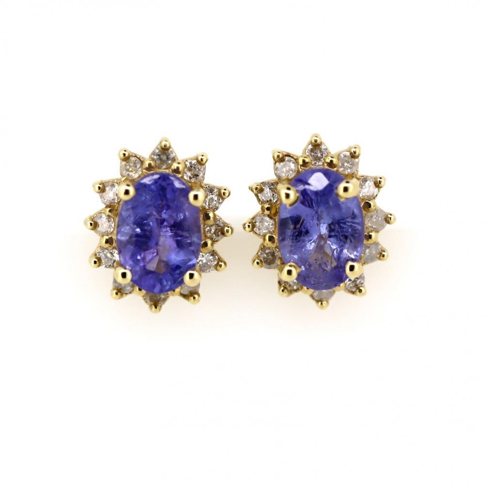 14K Yellow Gold, Tanzanite and Diamond, Vintage Style Halo Stud Earrings
