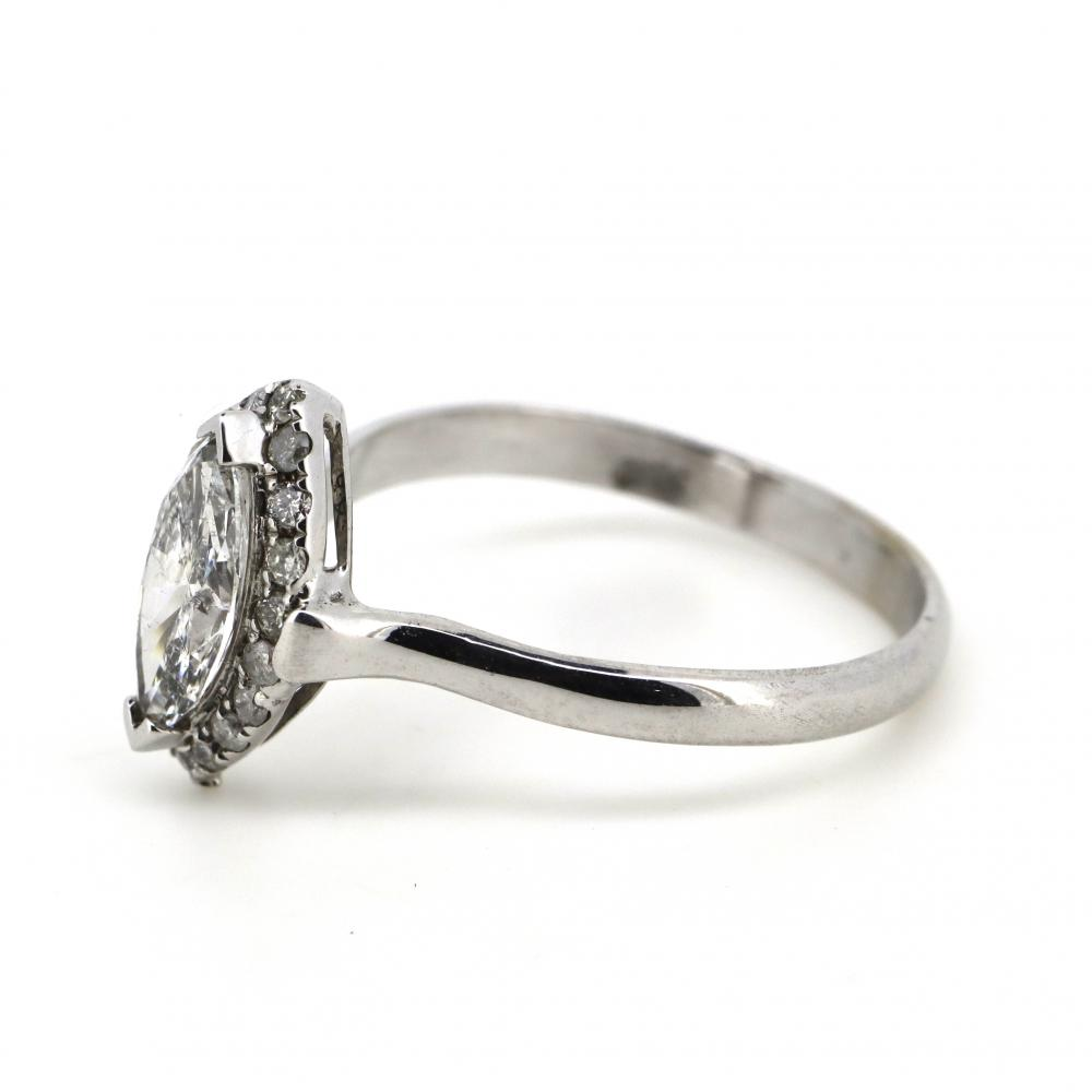 14K White Gold and Diamond, Marquise Halo Ring