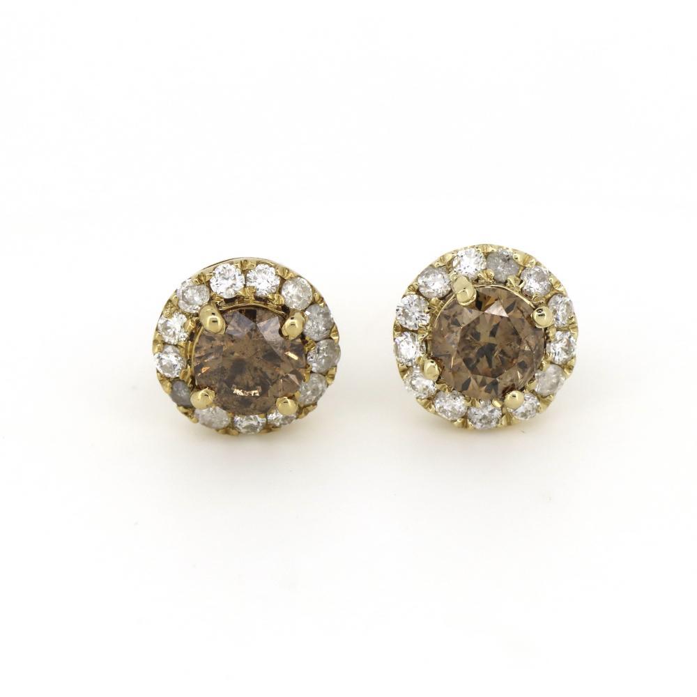 14K Yellow Gold, Cognac Diamond, Halo Stud Earrings