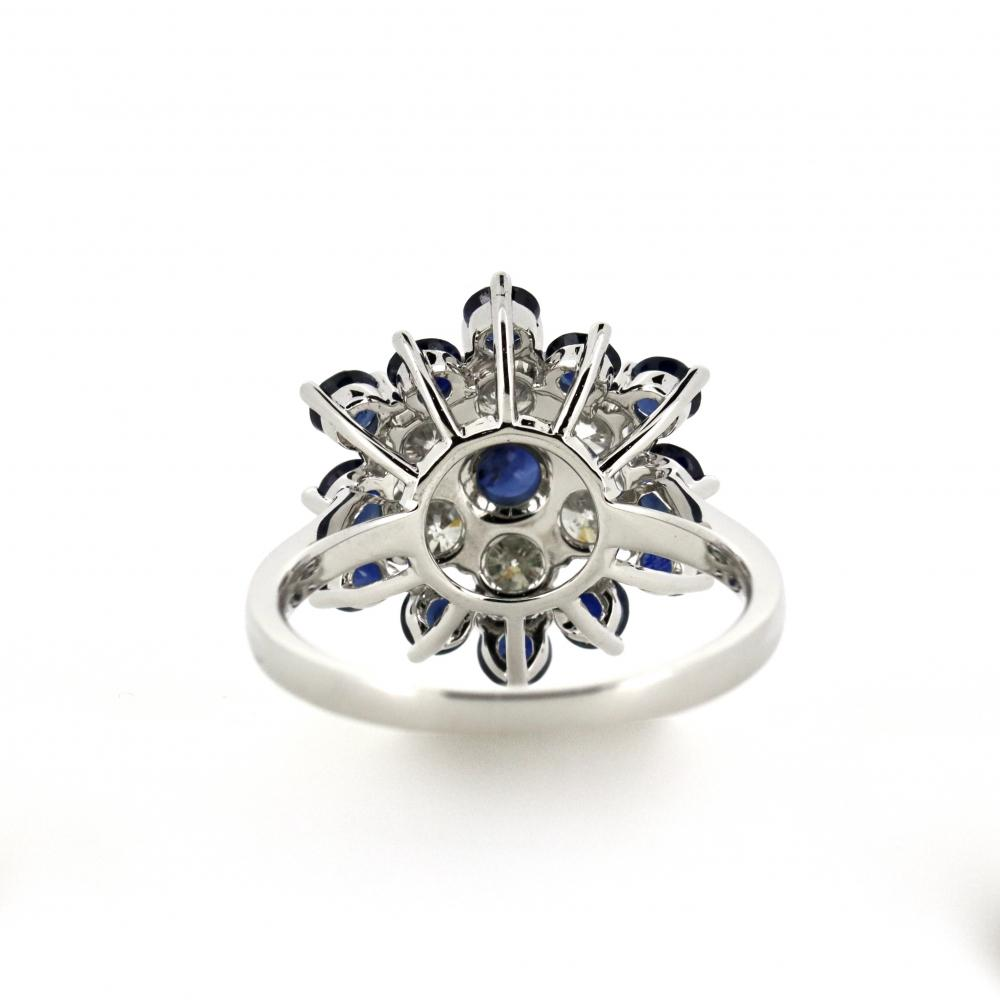 14K White Gold, Sapphire and Diamond, Snowflake Design Ring