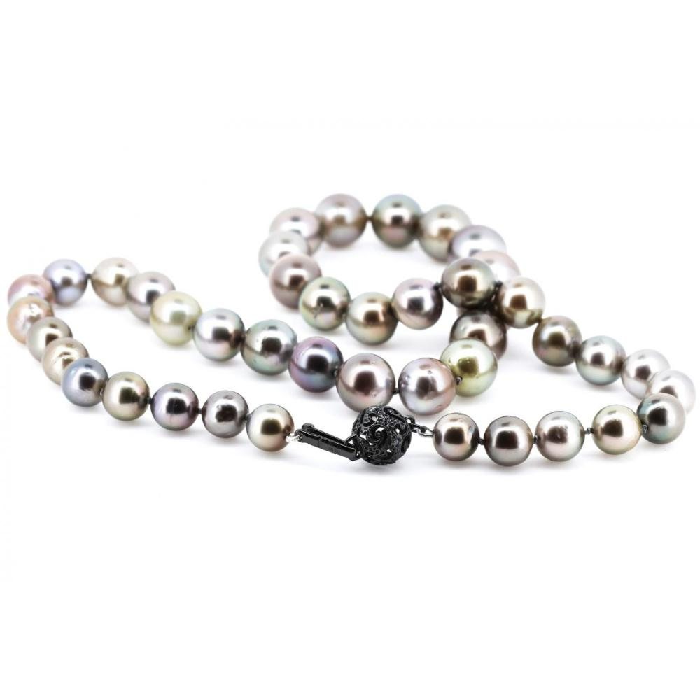 14K White Gold, Cultured Tahitian Pearl and Diamond, Strand Necklace