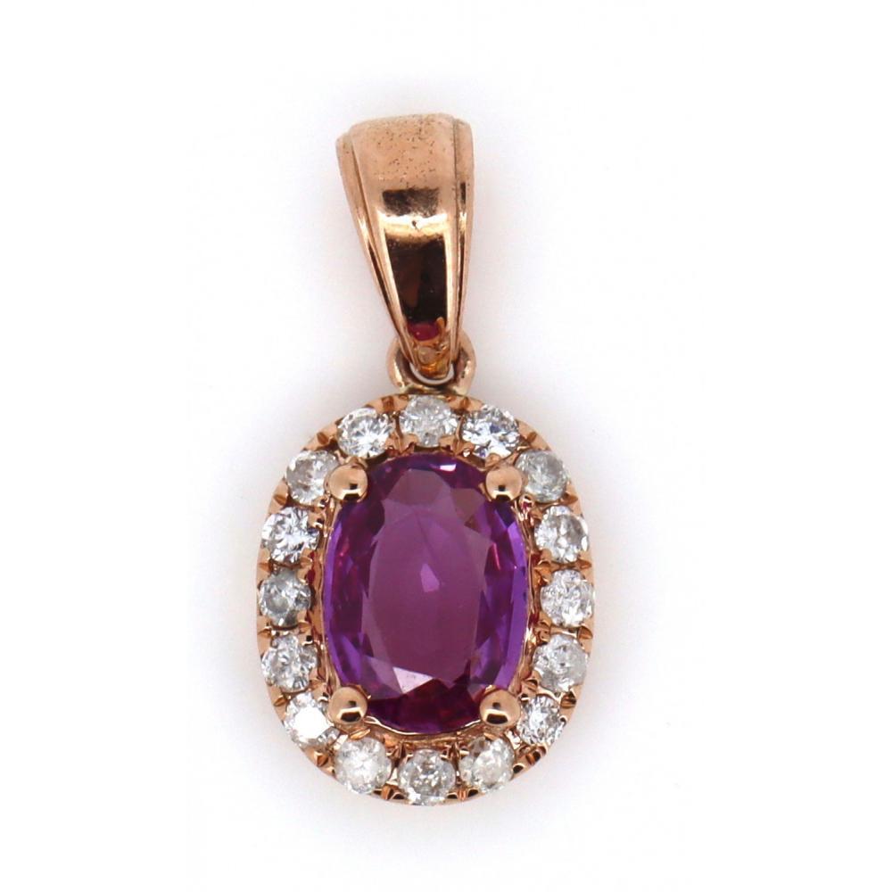 14K Rose Gold, Pink Sapphire and Diamond, Halo Drop Pendant